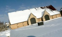 Grange, les 2 entrées - Baronnie sous la neige